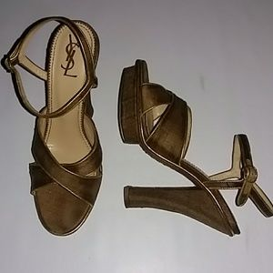 YSL Gold Platform Heels EXCELLENT CONDITION Sz38.5
